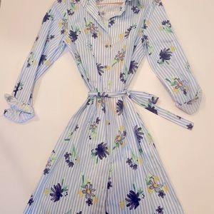 Jade Floral Pinstripe Long Sleeve Dress Small
